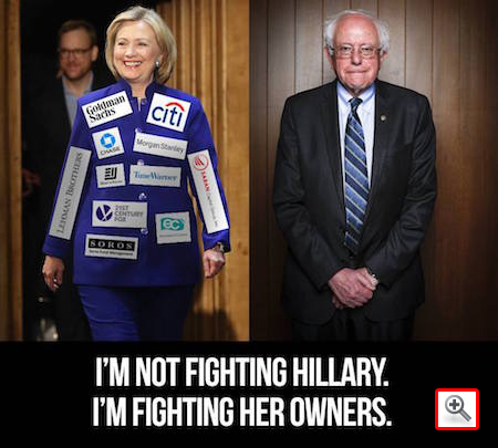 I'm not fighting Hillary. I'm fighting her owners