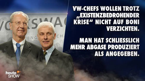 heute-show - VW-Vorstände bestehen auf hohen Bonuszahlungen