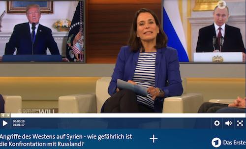 Die politische Linie der ARD wird von USA und NATO bestimmt. Der letzte Beleg: Anne Will von gestern. Diese Tendenz prägt auch die anderen Medien.