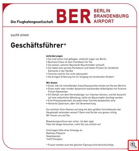 BER sucht Geschäftsführer