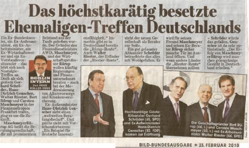 Genscher, Gerhard Schröder, Walter Riester, Bert Rürup und Maschmeyer